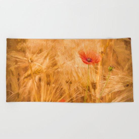 Fiery poppy in a golden cornfield- Poppies Flower Flowers #Society6 Beach Towel