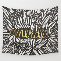 french Wall Tapestries featuring Pardon My French – Gold on Black by Cat Coquillette