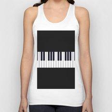 Piano Keys - Black and white simple piano keys pattern minimalistic music themed artwork Unisex Tank Top