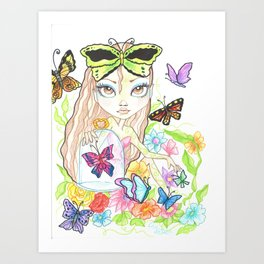 Girl with her Butterflies Art Print