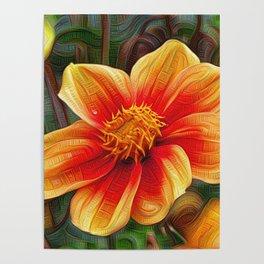 Orange Flower, DeepDream style Poster