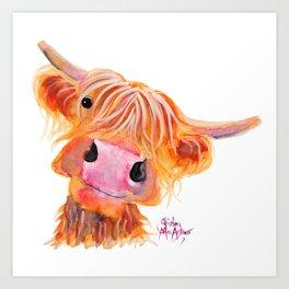 Highland Cow Print, Animal Print ' NESSIE ' by Shirley MacArthur Art Print