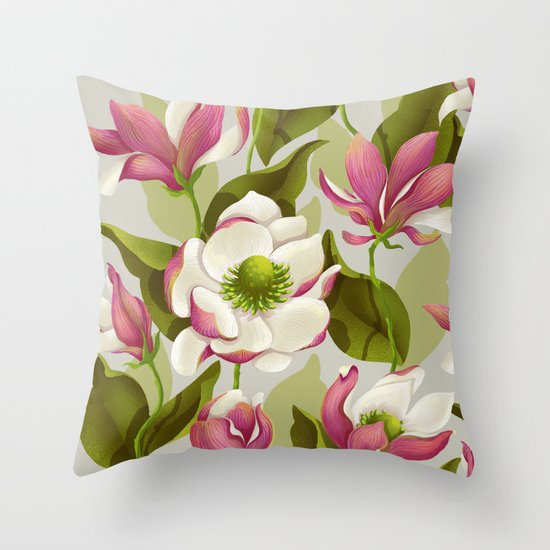 magnolia bloom - daytime version Throw Pillow