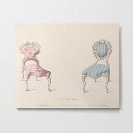 Design for Chairs Louis Quinze Style by Robert William Hume British // Fashion Furniture Sketches Metal Print