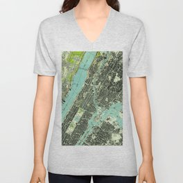 Vintage Central Park & Bronx NY Map (1947) Unisex V-Neck