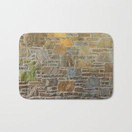Avondale Brown Stone Wall and Mortar Texture Photograph Bath Mat