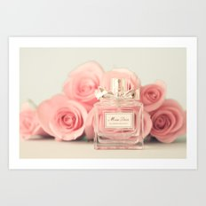 Delicious perfume still life with roses Art Print