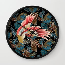 cranes and waves Wall Clock
