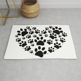 Dog paw print made of heart Rug