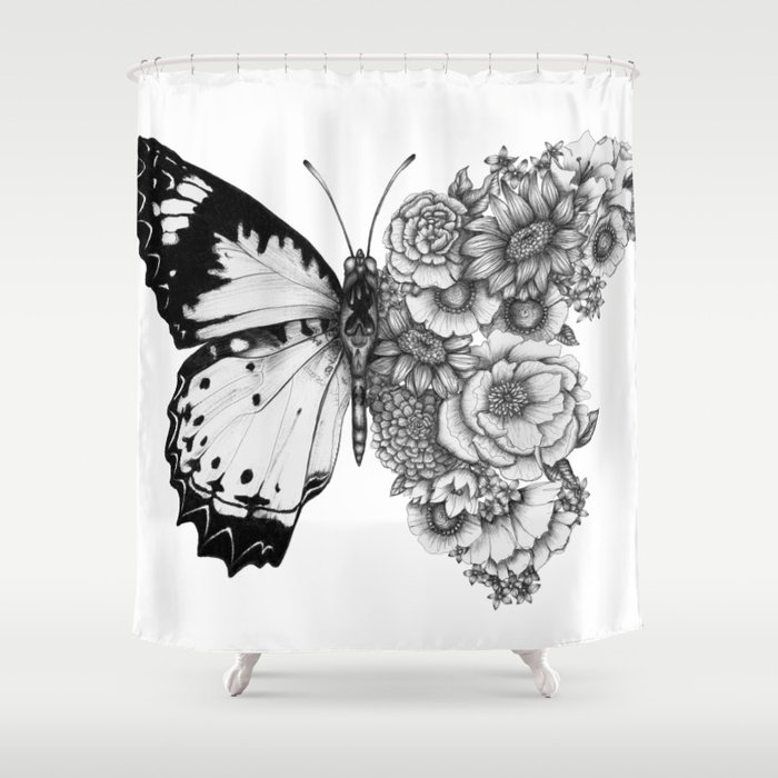 Butterfly in Bloom Shower Curtain