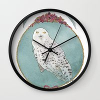 hedwig Wall Clocks featuring RIP Hedwig by 366Sketchbook