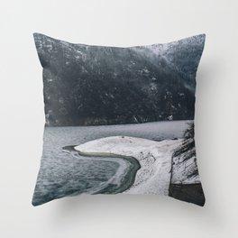 Frozen Mountain Landscape Throw Pillow