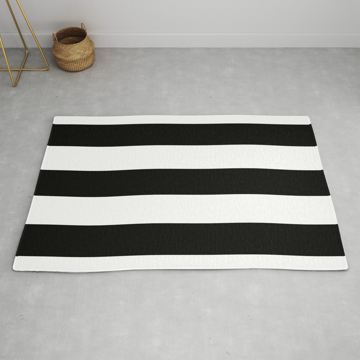 Black White Stripes Xl Rug By
