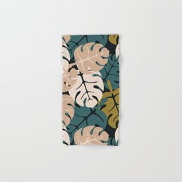Monstera Leaves Buttered Rum Hand & Bath Towel