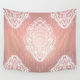 Rose Gold Bohemian Mandala Fall Sunrise Wall Tapestry