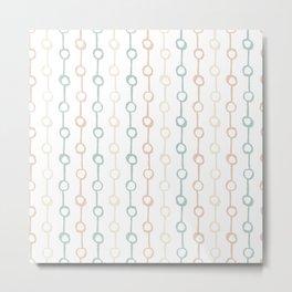 Polka Dot Stripe Pastel Pink Cream Green Metal Print