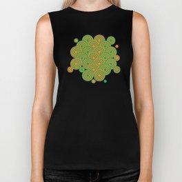 op art pattern retro circles in green and orange Biker Tank