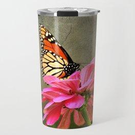 Monarch Butterfly and Pink Zinnia Travel Mug