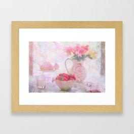 Strawberries & Cream Still Life Impressionist Painting Framed Art Print