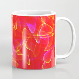 Cosmic luminous lines in red smoky style. Coffee Mug