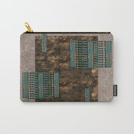 Contemporary Abstract Suede Look Beige, Brown, Turquoise Carry-All Pouch