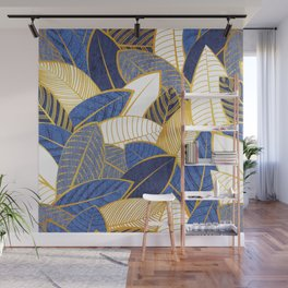 Leaf wall // navy royal and pale blue leaves golden lines Wall Mural