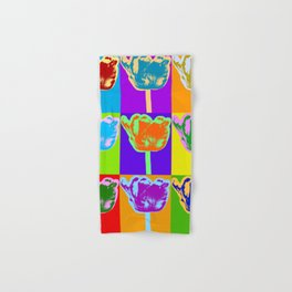 Poster with flower picture in pop art style Hand & Bath Towel