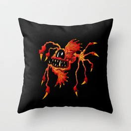 Creatures from the deep dark sea - Spiked Red Angler Fish Throw Pillow