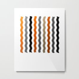Vertical Waves - Metallic Gold, Silver and Black Vertical Wavy Stripes Metal Print
