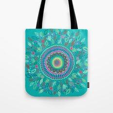 leafy Turquoise Mandala Tote Bag