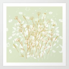Coockie brown clover on green  Art Print