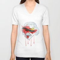 einstein V-neck T-shirts featuring Einstein by Alan fe