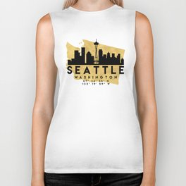 SEATTLE WASHINGTON SILHOUETTE SKYLINE MAP ART Biker Tank