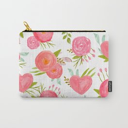 watercolor pink hearts Carry-All Pouch