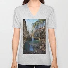 Alone in Secret Hollow with the Caves, Cascades, and Critters - Approaching the Falls, 2 of 2 Unisex V-Neck
