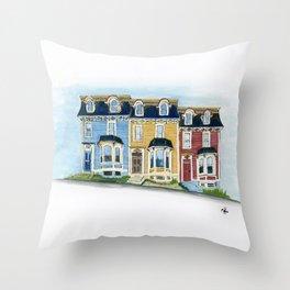 Jellybean Row - Newfoundland houses, buildings Throw Pillow