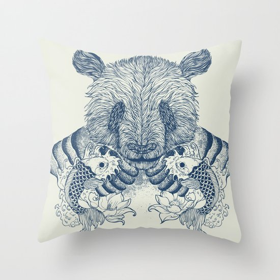 Panda Tattoo Throw Pillow