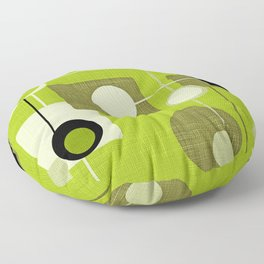 orbs and squares acid green Floor Pillow