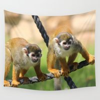 monkey Wall Tapestries featuring Monkey by Veronika