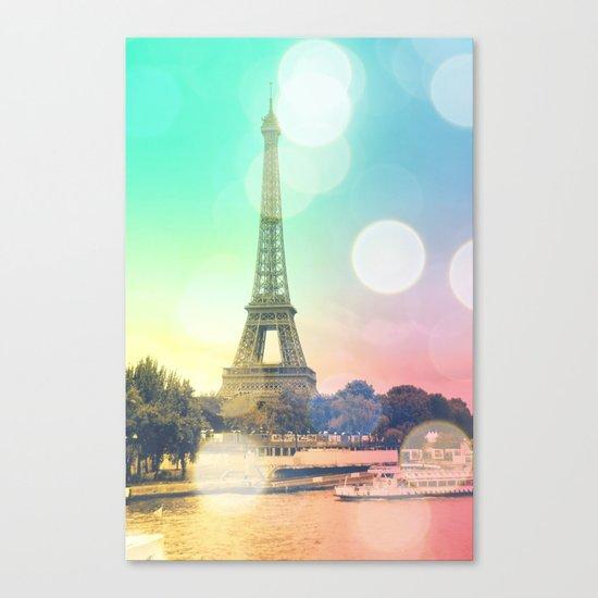 Paris. : Pastel Rainbow Bokeh Canvas Print