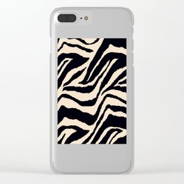Zebra Animal Print Black and off White Pattern Clear iPhone Case