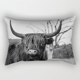 Wild highland cow | Black and white | Nature photography  Rectangular Pillow