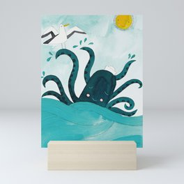 octopus in the sea with seagull watercolor illustration Mini Art Print