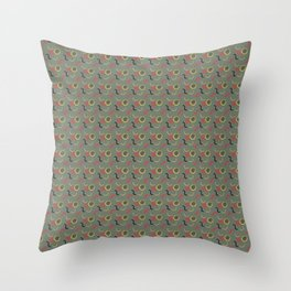 Red and Yellow Collage on Green Throw Pillow