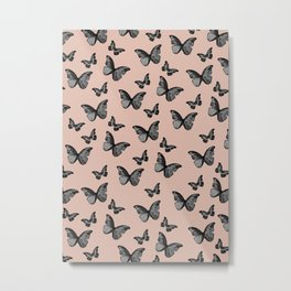 Black Pale Terracotta Butterfly Glam #1 #pattern #decor #art #society6 Metal Print
