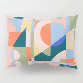Abstract cityscape in funny geometric shapes Pillow Sham