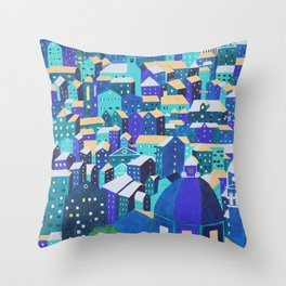 Moonlit Roofs, Corfu Town Throw Pillow