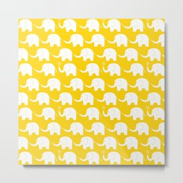 Elephant Parade on Yellow Metal Print