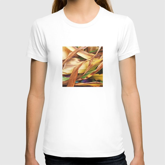 Leaves on the ground. brown, yellow, nature, decor, art, Society6. T-shirt