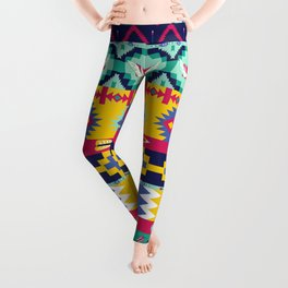 Seamless colorful aztec pattern with birds Leggings